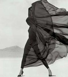 Versace-Veiled Dress, El Mirage, 1990. Herb Ritts