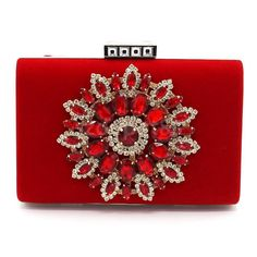 Women Clutch Bag Crystal Mini Bride Handbag Wedding Evening Party Purse Red