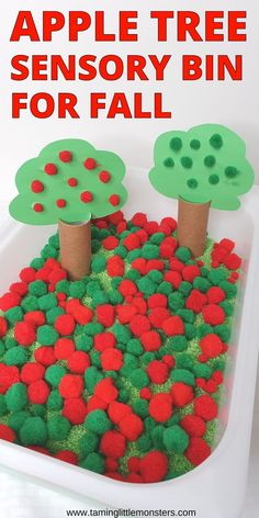 Learn how to make an Apple tree sensory bin. This is a fun and easy sensory activity for Fall and Autumn. Toddlers, preschoolers and kindergarten will love this beautiful fall play idea. #Fall #autumn #sensory #toddlers #prescholers #kindergartners Playgroup Activities, Nursery Activities, Apple Activities, Autumn Activities For Kids, Autism Activities, Preschool Activities, Sensory Play Recipes, Baby Sensory Play, Sensory Bins