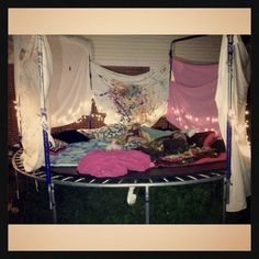 trampoline sleepover! Use 2 striped flat sheets + get some more at VV.