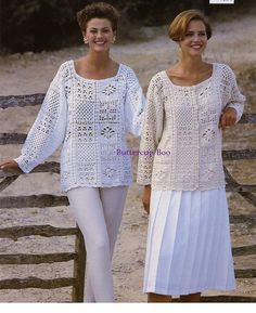 CROCHET PATTERNS - Womens Tunics Sweaters Jacket Cardigan Tops - One Size fits all