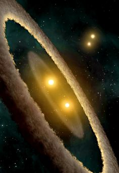 This artist concept depicts a quadruple-star system called HD 98800. The system is approximately 10 million years old, and is located 150 light-years away in the constellation TW Hydrae.    HD 98800 contains four stars, which are paired off into doublets, or binaries. The stars in the binary pairs orbit around each other, and the two pairs also circle each other like choreographed ballerinas. One of the stellar pairs, called HD 98800B, has a disk of dust around it, while the other pair does…