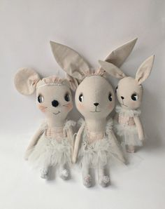 Oh my!! stinkin' cute bunny and mouse softies by clothandthread <3