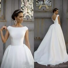e3be73008e77 Discount 2018 A Line Wedding Dresses Cheap Jewel Neck Ruched Draped Cap  Sleeves V Back Satin