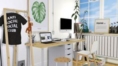 • IKEA Alex Linnmon Desk • IKEA Marius Stool • Bilbao Chair • Wall Poster • Ground Poster • Hay Loop Stand Hall • Recolors @the77sim3 Hanging Clothes Conversion • Wall Mounted Apple iMac ( Deco...
