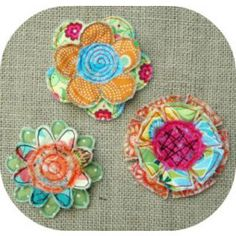 "In The Hoop :: Flowers :: Frayed & Layered Flowers Set 1 - Embroidery Garden | Unique ""in the hoop"" machine embroidery design files"