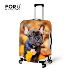 FORUDESIGNS Luggage Cover Animal Cute Bulldog Print Travel Accessories for 18-30inch Travel Case Suitcase Protective Dust Covers