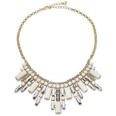 ABS by Allen Schwartz Jewelry Rebel Soul Drama Crystal Bib Necklace ($155) ❤ liked on Polyvore featuring jewelry, necklaces, accessories, apparel & accessories, gold, art deco necklace, statement necklaces, bib necklace, art deco jewelry and crystal stone necklace
