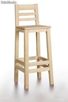 Taburete de madera de pino. Respaldo.                              …