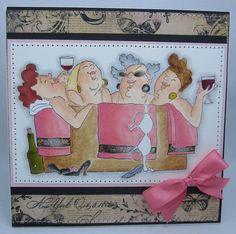 Art Impressions: Ai Girlfriends: In the Tub set of 4 (Sku#3570) handmade friendship card.