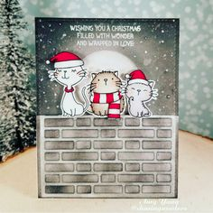 Birdie Brown Beast Friends and Cool Cat stamp sets and Brick Wall Cover-Up Die-namics - Amy Yang #mftstamps