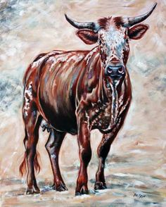 Nguni 3 by Ilse Kleyn Rooster Painting, South African Artists, Cow Art, Illustrations, Painted Signs, Types Of Art, Animal Paintings, Cattle, Pet Portraits