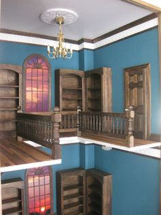 8dbb3cd21f71 Items similar to Bi-Level dollhouse Miniature Room Box Victorian Library  Study Office 1/12th scale on Etsy