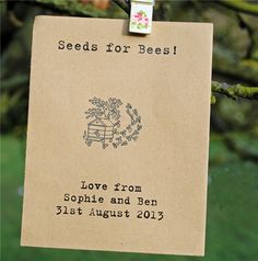 Mr & Mrs Unique :: Wildflower Favours :: Unusual, unique and personalised wildflower seed-related wedding favours – seed packets and plantable paper invites, menus, save the dates etc.