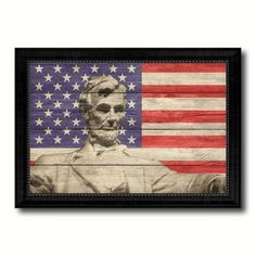 Abraham Lincoln Memorial Flag Texture Canvas Print with Black Picture Frame Home Decor Man Cave Wall Art Collectible Decoration Artwork Gifts