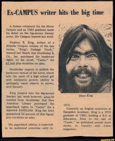 """University of Maine Student Newspaper Article from the Announcing Stephen King's Literary Debut"" Misery Stephen King, Stephen King Quotes, Stephen King Books, Stephen Kings, Writing Memes, Writing A Book, Writing Prompts, Steve King, University Of Maine"