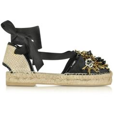 Oscar de la Renta Shoes Adriana Embroidered Black Satin and Raffia... (€540) ❤ liked on Polyvore featuring shoes, sandals, black, padded sandals, black sandals, black satin shoes, ankle wrap sandals and ankle tie espadrilles