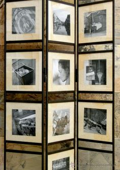 ORIGINAL BIOMBO DE HIERRO FORJADO Y CRISTAL - FOTOGRAFÍAS - DECORACIÓN - EXPOSITOR - VINTAGE