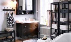 Beat the morning rush with the HEMNES bathroom series. It has lots of smart ideas like an extra tall mirror cabinet and a bench with a storage shelf, to help you organize your bathroom, no matter what size it is.