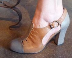 Remix Vintage Shoes, Parkview Oxford Bootie Heel in Brown/Taupe Leather