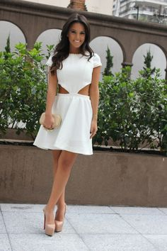 cut-out & studded white dress