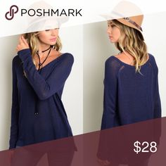 🆕 Navy Blue Long Sleeve Lightweight Sweater New with tags. Navy blue long sleeve lightweight loose fitting sweater.                                      🌸60% rayon, 40% nylon.                                                   🌺PRICE IS FIRM UNLESS BUNDLED.                              ❌SORRY, NO TRADES. Boutique Sweaters V-Necks