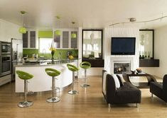 Cancos Tile With Green Barstools And Black Cofa Also Woden Flooring For Modern Interior Home Design Ideas Green Kitchen, Kitchen Colors, Kitchen Retro, Neutral Kitchen, Eclectic Kitchen, Contemporary Kitchen Design, Modern Interior Design, Contemporary Apartment, Home Design