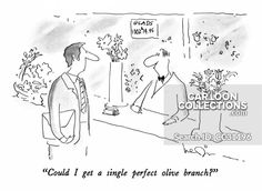 """""""Could I get a single perfect olive branch? Political Cartoons, Funny Cartoons, Relationship Problems, The New Yorker, Presentation, Humor, Comics, Illustration, Prints"""