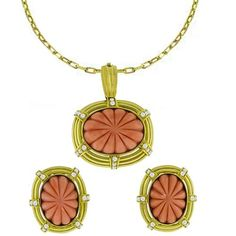 Coral 1.10ct Diamond Earrings & Pendant Set