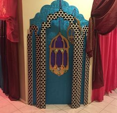 Andrea's Arabian Nights: My own props: photo opp foyer... Lamp cutouts and arches in progress