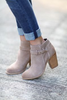 Neutral suede ankle booties | Sole Society Lyriq