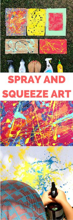 Recycled Spray and Squeeze Art Painting with Kids. Create amazing abstract art from recycled bottles and to paint on cardboard or fabric.