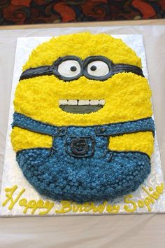 Minion cake for a 2 year olds birthday party