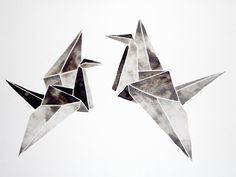 Watercolor Original Origami Painting Artwork by GeometricInk, $100.00