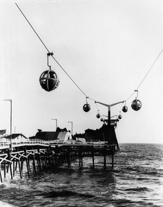 July Aerial tram skyride at the pier on Pacific Ocean Park, Seal Beach, California.(Photo by the Los Angeles Public Library via Water and Power Associates) California History, Vintage California, California Dreamin', Palisades Amusement Park, Sky Ride, Seal Beach, Ocean Park, Water Slides, Pacific Ocean