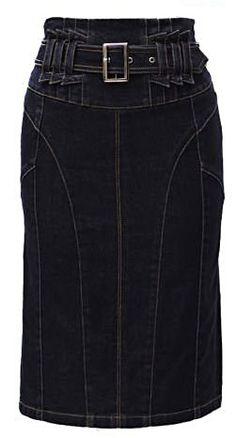 Джинсовая юбка с завышенной талией