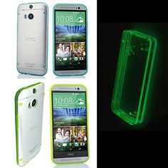Luminous Glow in the Dark Cover Case for HTC One M8 (Set of 2: Blue + Green) Paragon Coast Paragon