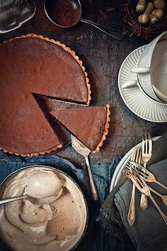 Chocolate tart with italian coffee ice cream