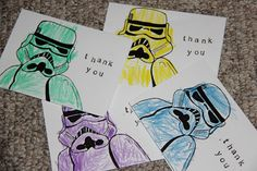 Thank you cards for a Star Wars birthday party.  Draw a storm trooper and have your kiddo colour it in!