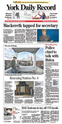 York Daily Record front page for Saturday, Feb. 9