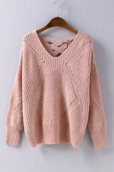 Pastel Pink Cross Back Hollow Sweater