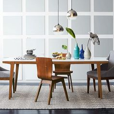 White/wood contrast Scandinavian-style Modern Dining Table with angled legs. Warm and cool at the same time.
