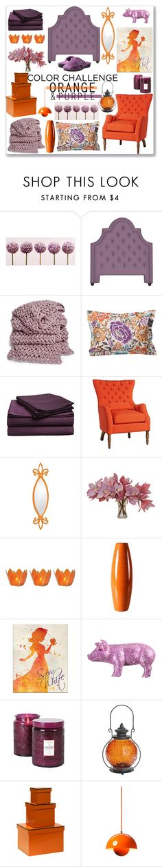 """""""Orange and Purple Bedroom"""" by kimzarad1 ❤ liked on Polyvore featuring interior, interiors, interior design, home, home decor, interior decorating, Graham & Brown, Jonathan Adler, Missoni Home and Impressions"""