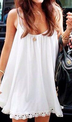 Crochet Hem Dress - White