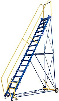 Yellow Vestil RLAD-P-2-Y Rolling Two Step Perforated Steps