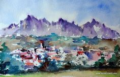 Montserrat- View from Navarcles. Sketching, Watercolor, Painting, Outdoor, Art, Watercolor Painting, Drawings, Pen And Wash, Outdoors
