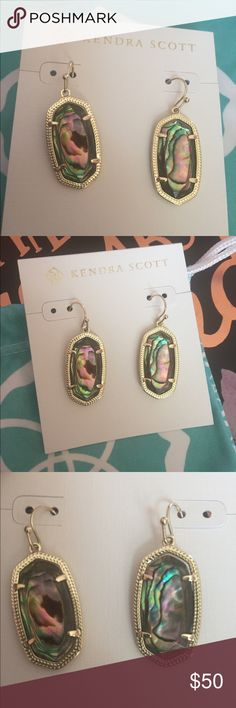 Kendra Scott Abalone Dani Earrings These gold earrings showcase the beautiful natural features of Abalone. This Dani size is smaller than the Elles but larger than the Lees. Only worn once and in great condition. Kendra Scott Jewelry Earrings