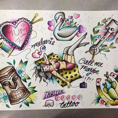 Tattoo flash by trailertrashtattoo #tiki #horseshoe #swan #crafty
