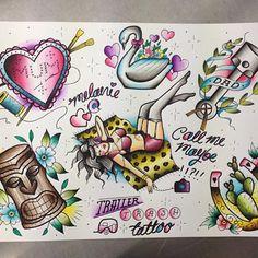 Tattoo flash by trailertrashtattoo #tiki #horseshoe #swan #crafty