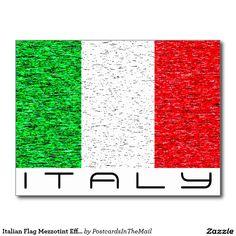 Italian Flag Mezzotint Effect Italy Postcard